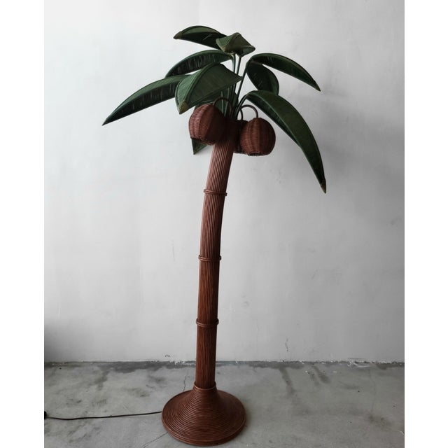 Wicker Vintage Wicker Rattan Palm Tree Floor Lamp For Sale - Image 7 of 7