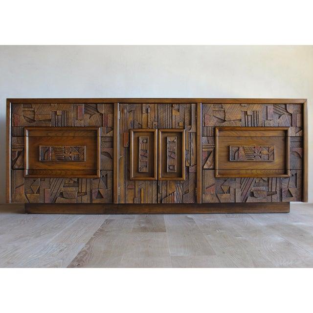 Lane Furniture Mid-Century Lane Sculptural Brutalist Paul Evans Style Dresser Chest Credenza For Sale - Image 4 of 11