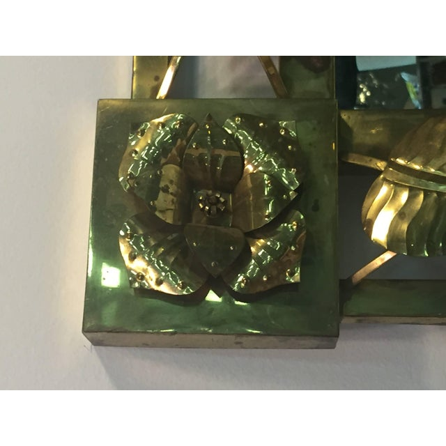 Modern Brass Stylized Flower and Leaves Mirror For Sale - Image 4 of 11