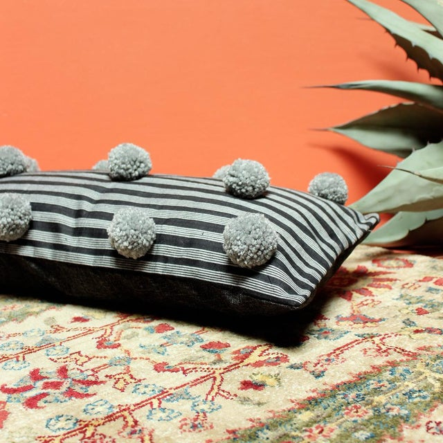 Black Handwoven Lurik Striped Pillow With Concrete Grey Pom-Poms - Image 5 of 7