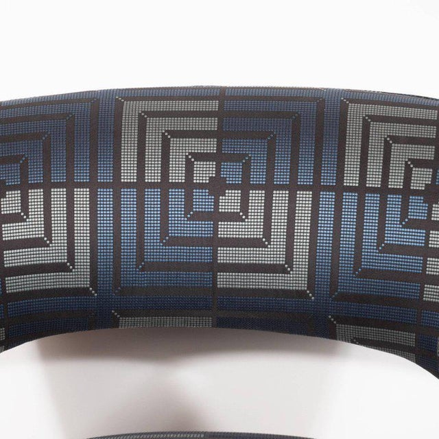 Mid-Century Modern Club Chair in Sapphire & Platinum Fabric With Ebonized Walnut For Sale - Image 4 of 8