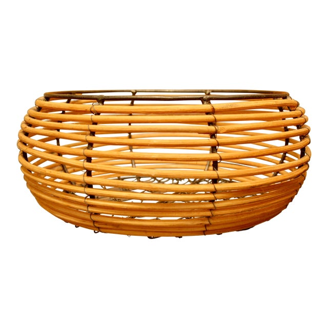 Organic Modern Woven Basket in the Style of Gabriella Crespi For Sale