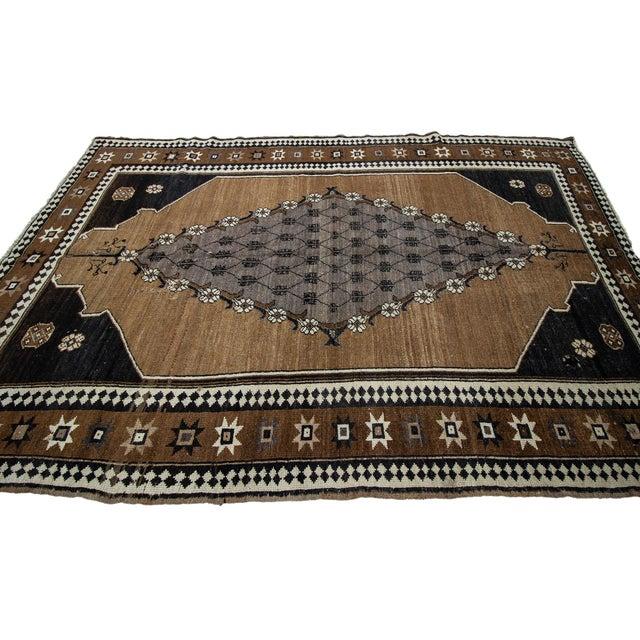 Turkish Vintage Brown & Black Turkish Kars Rug- 5′8″ × 8′10″ For Sale - Image 3 of 7