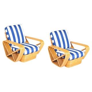 1970s Paul Frankl Style Pretzel Rattan Chairs-A Pair For Sale