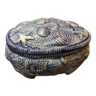 Blue Seashells Porcelain Box For Sale