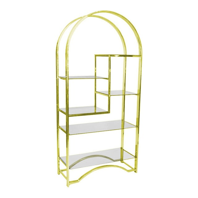 Milo Baughman Style Gold Etagere - Image 1 of 3