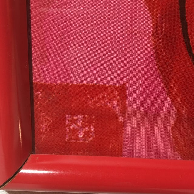 """Late 20th Century """"Red and Pink Horse"""" Signed Lithograph by Walasse Ting, Framed For Sale In Washington DC - Image 6 of 10"""