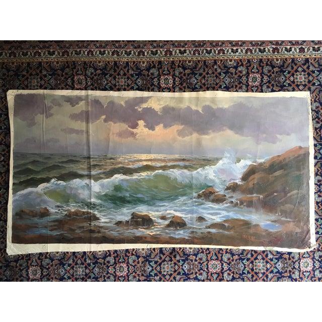 Vintage Large Signed Seascape - Image 11 of 11