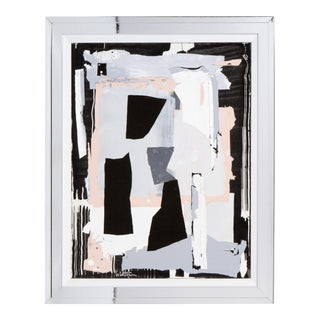 Contemporary Abstract Acrylic Painting in Black, Grey and Pink For Sale