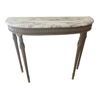 19th Century Continental Marble Top Demi-Lune Table For Sale