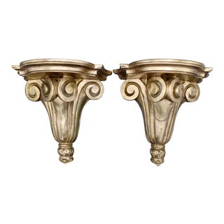 Italian Neoclassical Style Gilt Wood Wall Shelves - a Pair For Sale