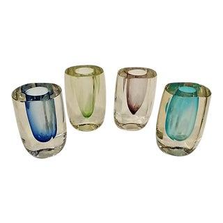 Vintage Modern Crystal Art Glass Bud Vases - Set of 4 For Sale