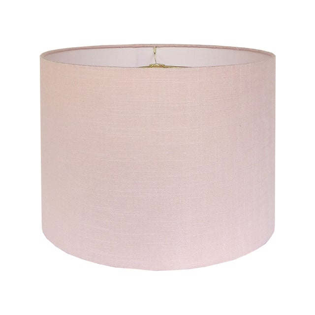 """DETAILS: - Custom, handcrafted lampshade - Fabric: Blush linen - Fitting: brass washer/spider fitting with 1/2"""" drop -..."""