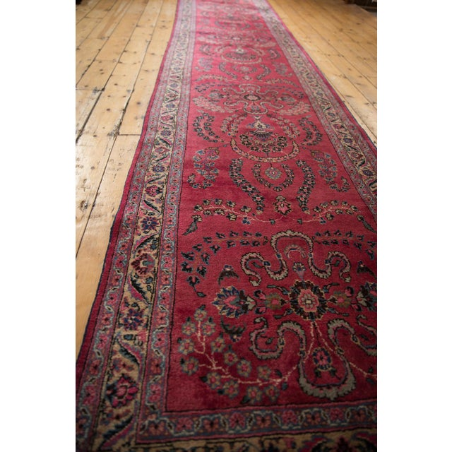 "Vintage Meshed Rug Runner - 3'4"" X 16'1"" For Sale - Image 12 of 13"