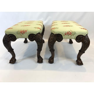 Pair of Beautifully Carved and Upholstered Benches Preview