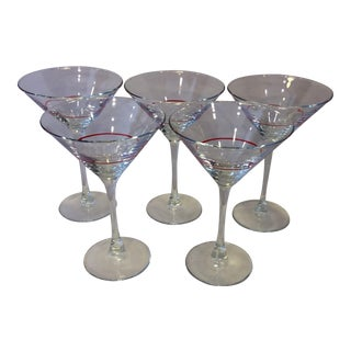 Vintage Red Stripe Crystal Martini Glasses - Set of 5