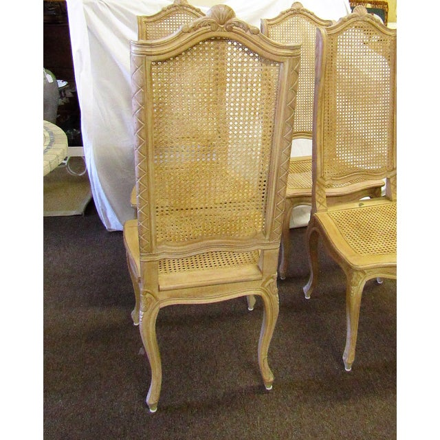 Traditional Baker Tall Back Cane & Carved Wood Dining Chairs - Set of 4 For Sale - Image 3 of 8