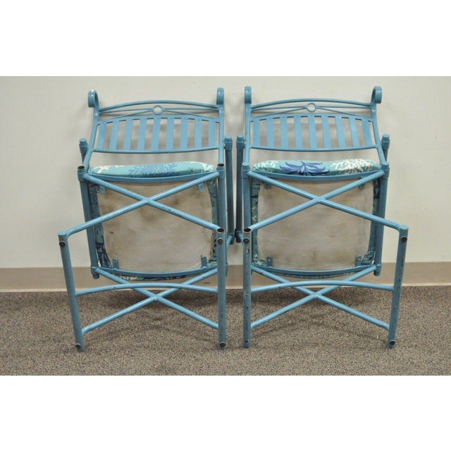 Pair of Vintage Hollywood Regency X Form Blue Iron Curule Directors Arm Chairs B - Image 8 of 11