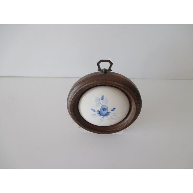 Traditional Vintage Porcelain Hand Painted Tile Framed in a Circle of Wood For Sale - Image 3 of 7