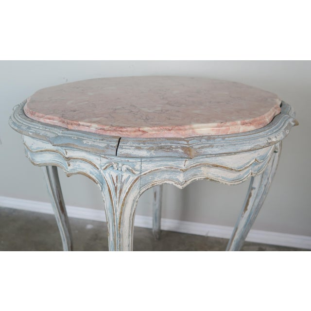 Turquoise Pair of Painted French Louis XV Style Tables W/ Marble Tops For Sale - Image 8 of 10