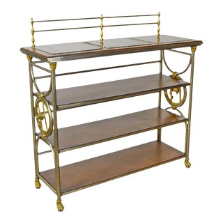 Maitland Smith Regency Style Steel Brass & Marble Etagere Server