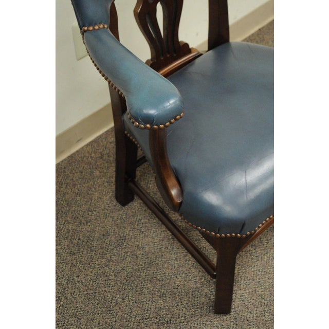 Vintage Ephraim Marsh Chippendale Blue Leather & Mahogany Library Office Arm Chair - Image 6 of 11