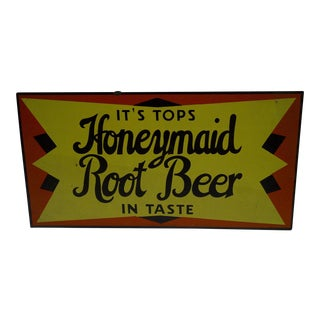 "1930's Vintage ""Honeymaid Root Beer"" Sign For Sale"