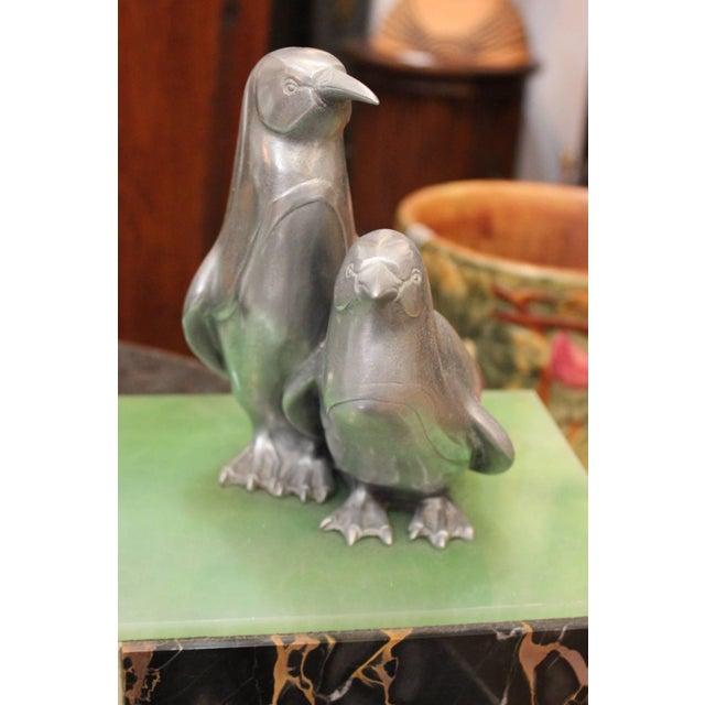 Art Deco 1930s Art Deco Cast Aluminum Sculpture on Marble of Female Dancer and Penguins For Sale - Image 3 of 6