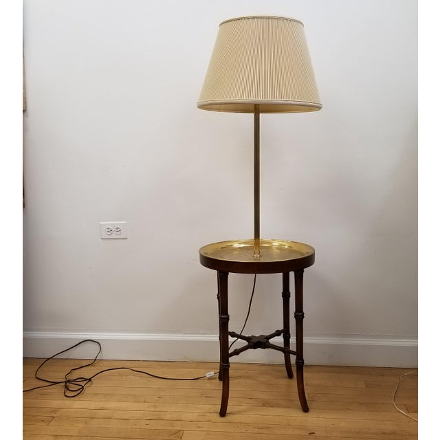 Brass Faux Bamboo Wood & Etched Brass Table Floor Lamp For Sale - Image 7 of 8
