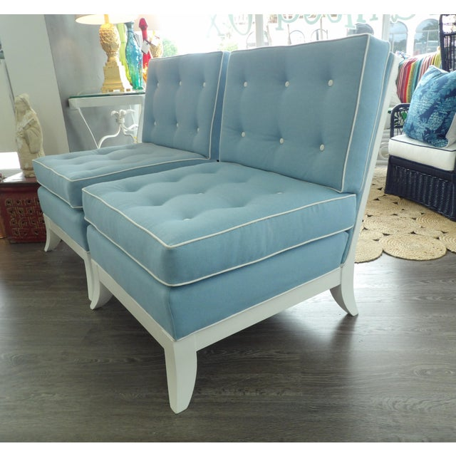 Absolutely Elegant Pair of Slipper Side Chairs. These are vintage with new white lacquer finish and new Upholstery. The...