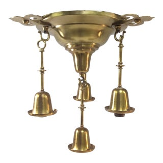 Vintage Art Deco Hanging Four-Light Pendant Chandelier For Sale