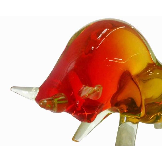 Italian Murano Red & Yellow Glass Bull Figure For Sale - Image 3 of 4