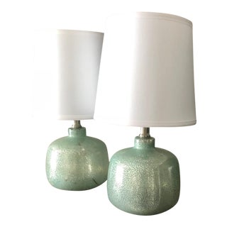 Small Sea Foam / Turquise Green and Gold Mercury Glass Lamps - a Pair