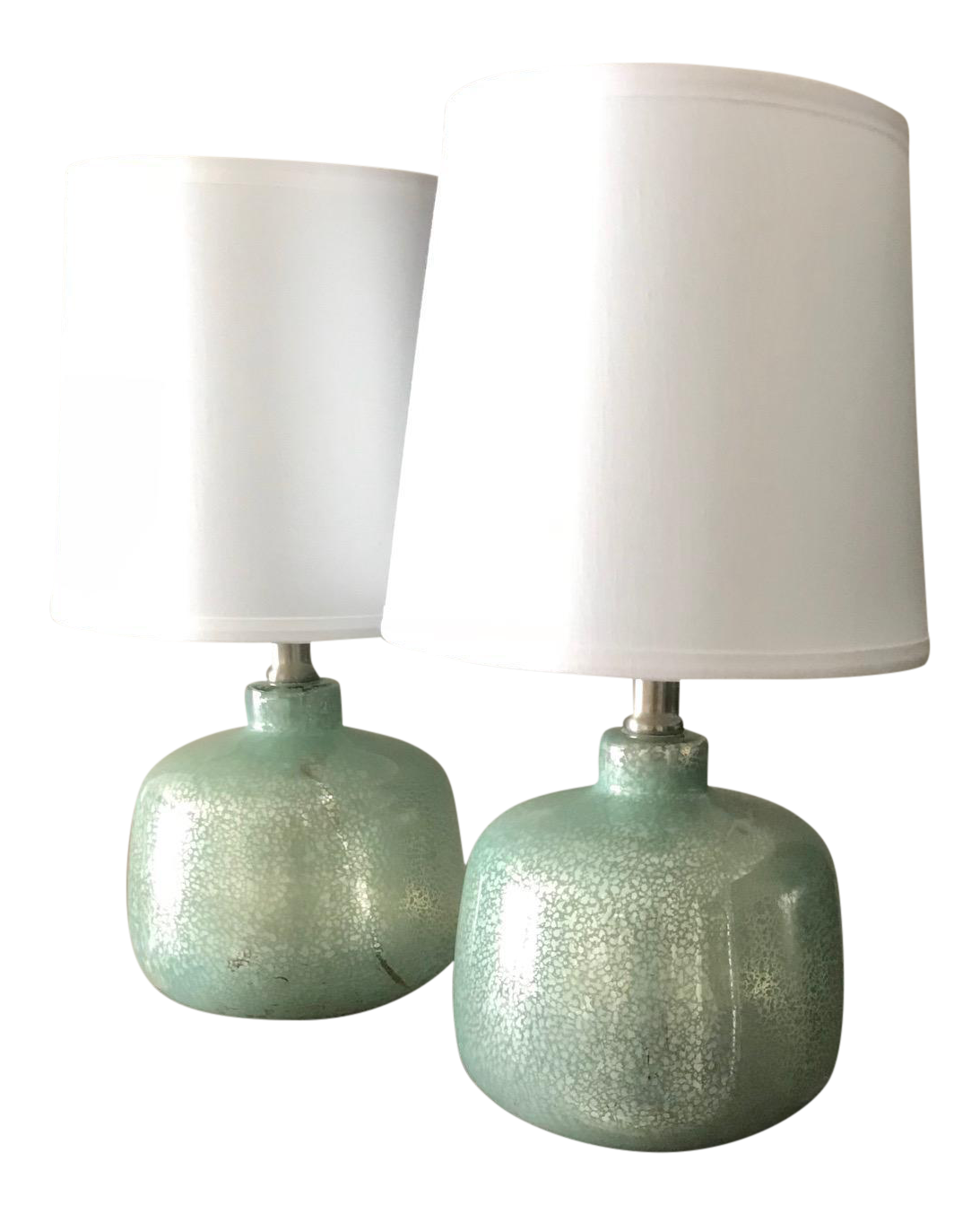 Small Sea Foam / Turquoise Green And Gold Mercury Glass Lamps   A Pair