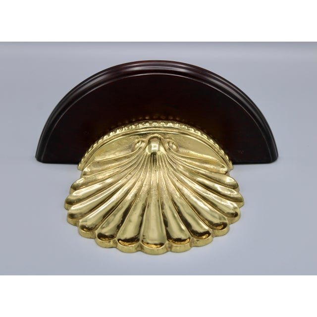 Coastal Wood and Brass Clam Shell Wall Shelves - a Pair For Sale In Tulsa - Image 6 of 13