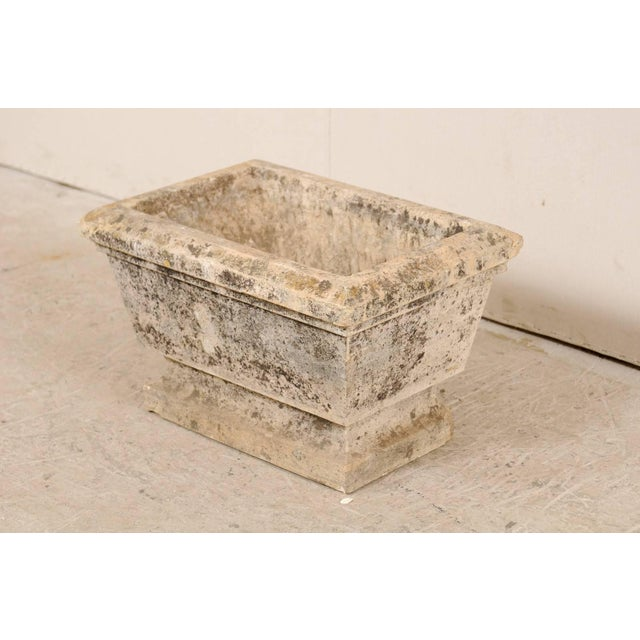 Mid 20th Century European Hand-Carved Rectangular Stone Planter With Chamfered Edges For Sale - Image 5 of 7