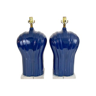 Vintage Porcelain and Lucite Pair of Lamps, 1980s For Sale