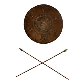 Silent Film Movie Prop Warrior Shield and Spears Wall Décor For Sale