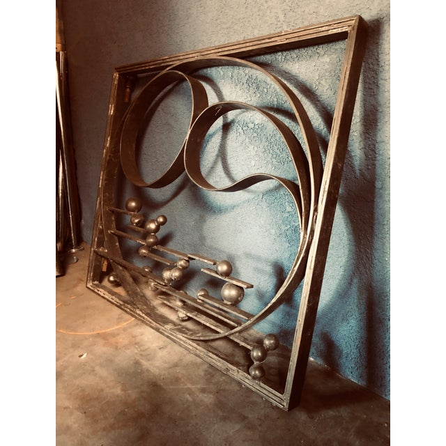Art Deco Antique Handcrafted Bronzed Iron Art Deco Panel For Sale - Image 3 of 10