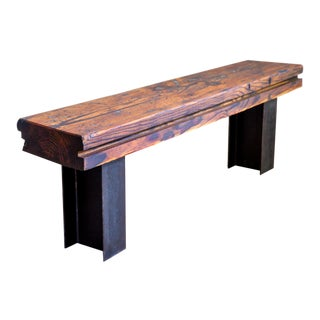 Ancient Long-Leaf Pine I-Beam Steel Entry Bench For Sale