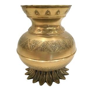 Vintage Boho Chic Brass Vase For Sale
