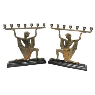 Pair Art Deco Silver Bronze Lady Candlestick Holders on Black Marble For Sale