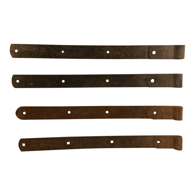 Amish Barn Iron Door Hinges - Set of 4, Hand Wrought For Sale