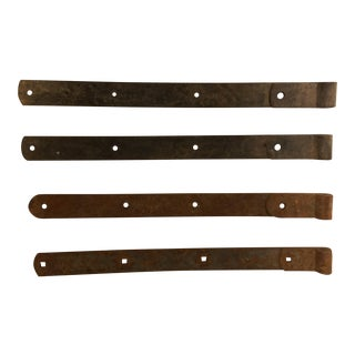 Antique Hand-Hewn Iron Barn Door Hinges - Set of 4 For Sale