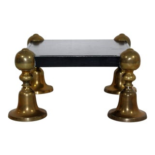 Mid Century Modern Brass Black Lacquer Wood Pedestal Table Parzinger Style 1960s For Sale
