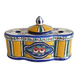 Antique French Porcelain Inkwell For Sale