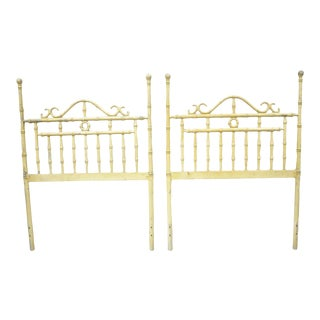 Chinese Chippendale Hollywood Regency Faux Bamboo Metal Twin Headboards - a Pair For Sale