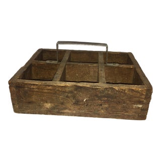 Vintage Rustic Wood & Metal Tool Tray For Sale