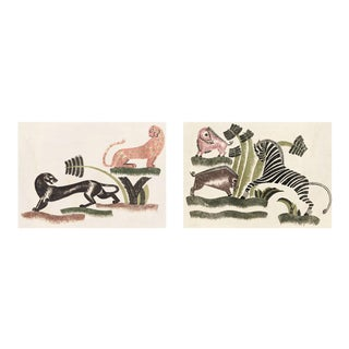 Animals Playing, Set Of 2, Unframed Artwork For Sale