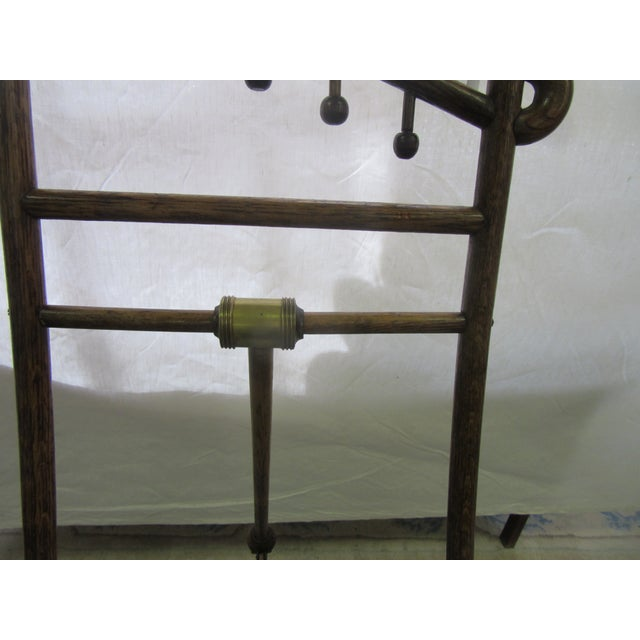 Antique Arts and Crafts Oak Wood Easel With Brass Accents For Sale - Image 4 of 7